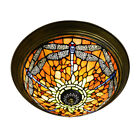 Tiffany Dragonfly Pattern Ceiling Lamp Stained Glass Shade Flush Mount Lighting
