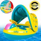 Baby Pool Float with Canopy Infant Swimming Ring Pool Floaties with Shade Safety