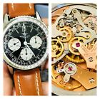 Vintage Breitling Navitimer Chronograph 806 Mens SS Watch w/ New Leather Band