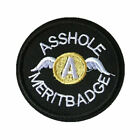 Ass Hole Merit Badge Embroidered funny biker logo Wings Sew On Round Patch