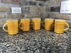 Set Of 5 Fire King Ranger 12 oz Barrel Coffee Cup Mug YELLOW Anchor Hocking