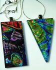 2 LARGE Dichroic Fused Glass Mosaic Pendants + 18 925 Sterling Silver Necklace