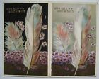 2 Similar Old 1910s Best Wishes Greetings Postcards with Feathers