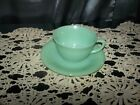 vtg Anchor Hocking Fire-King Jadeite Jane Ray Cup + Saucer Set Green Jade USA