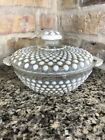 Vintage Anchor Hocking Opalescent Moonstone Hobnail Glass Covered Candy Dish