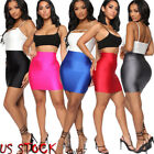 WOMEN PLAIN BODYCON STRETCH SHORT MINI CASUAL PENCIL LADIES SKIRT HIGH WAIST USA
