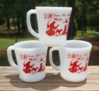 Vintage SET of 3 Fire King Red and White Glass MUGS w/Child's Before Meal Prayer