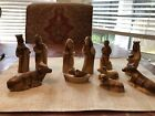 HAND SCULPTED OLIVE WOOD NATIVITY MANGER CRECHE FIGURES 12 PIECES