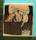 Large TOMCAT TRIO CATS HOWLING ON FENCE Rubber Stamps by Stamps in Motion