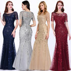 US Ever-Pretty Plus Size Mesh Sleeve Long Evening Gowns Bridesmaid Party Dresses