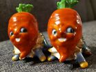 Vintage Anthropomorphic Vegetable Head Salt  Pepper Shakers