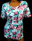 White stag green pink floral print short sleeve round neckline top XL 16 18