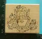 PUPPY and KITTY LOOKING AT SLEEPING BABY Rubber Stamp by Art Impressions