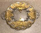 #A811 ~ VINTAGE CLEAR GLASS WITH GOLD OVERLAY PLATE DISH HANDLES SCALLOPED EDGES
