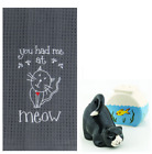 Cat Lovers Kitchen Accessory Bundle Towel with Salt and Pepper Shakers