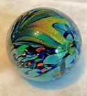 """Rollin Karg Art Glass CONFUSION 3.5"""" Signed Paperweight Blue Confetti Magnum"""