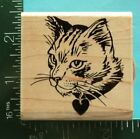CAT PORTRAIT Rubber Stamp by Stamendous Kitty Heart