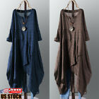 Women Plaid Long Sleeve Cotton Linen Loose Mini Dress Long Shirt Dress Kaftan US