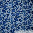 BonEful FABRIC FQ Cotton Quilt White Blue VTG Williamsburgh Toile Flower Leaf US