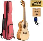 Kala KA FMCG Concert Ukulele Spruce Top w Red Sonoma Case Bundle