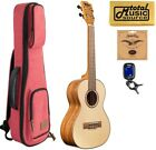 Kala KA FMTG Spruce Top Flame Maple Tenor Ukulele w Red Sonoma Case Bundle
