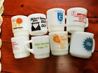 8 Vintage FIRE KING Mugs Cups Advertising Business Lot Restaurant Bank GMC Auto