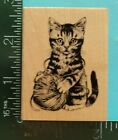 CUTE KITTEN CAT with YARN Rubber Stamp by Inkadinkado Pet