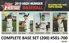 2019 Topps Heritage High Number COMPLETE BASE SET 200 Cards 501 700 Guerrero+