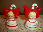 Adorable Vintage Christmas Candy Cane Girls Salt  Pepper Shakers