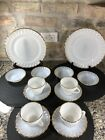 Vintage Lot Fire King Milk Glass 22K Gold Trim Swirl Shell Plate Bowl Cup Saucer