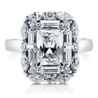 Sterling Silver AAAA Cubic Zirconia Radiant Cut Art Deco Halo Statement Rings