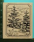 SNOWY SPRUCE TREES Winter Rubber Stamp by NORTHWOODS Christmas