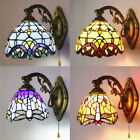 Baroque Stained Glass Wall Light Vintage Tiffany Wall Mount Lamp Bedroom Sconces