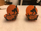 set of 2 Vintage Halloween Nut Cups Cat Jol and critters 1930s