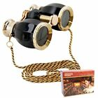 HQRP Opera Glasses Antique Style in Elegant Black Color with Gold Trim with C