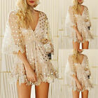 Women Fashion Casual Party Dot V Neck Tassel Sequin Tunic Half Sleeve Mini Dress