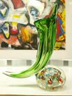 Murano Millefiori Bubble Glass Paperweight Green Lily Vase Candle holder Horn