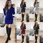 Women Bodycon Sweater Dress Long Sleeve V Neck Knit Stretch Mini Jumper Dresses