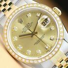 ROLEX MENS DATEJUST 16013 CHAMPAGNE DIAMOND DIAL 18K YELLOW GOLD