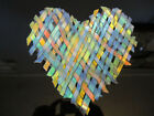 Modern Studio Art Glass Iridescent Woven Fused Heart Wall Plaque Bowl Signed