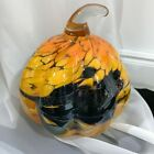 Orange Black Opal Blown Art Glass Pumpkin Murano Style Fall Halloween Decor