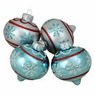 Northlight Blue and Silver Onion Shaped Snowflake Glass Christmas Ornament Set