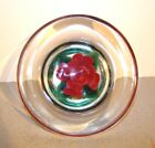 Signed Steven Lundberg Glass Art Bowl w/ Red Lampwork Rose