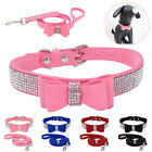 Bling Rhinestone Dog Collar  Leads Soft Suede Bow For Small Pet Puppy Cat XXS M