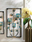 large 19 teal blue turquoise peacock modern art wall mount sconce Candle holder
