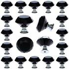 25 pcs Black Glass Cabinet Knobs Crystal Drawer Pulls