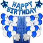 Blue Birthday Party Decorations Set with Balloons Banner Foil Fringe Curtain