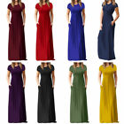 Womens Boho Casual Round Neck Short Sleeve Evening Party Beach Long Maxi Dresses