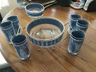 Roman Greek Wedgewood Blue Chip Dip Glasses Set