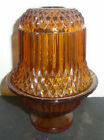 VINTAGE INDIANA AMBER GLASS FAIRY LAMP LIGHT DIAMOND POINT CANDLE HOLDER 6.5